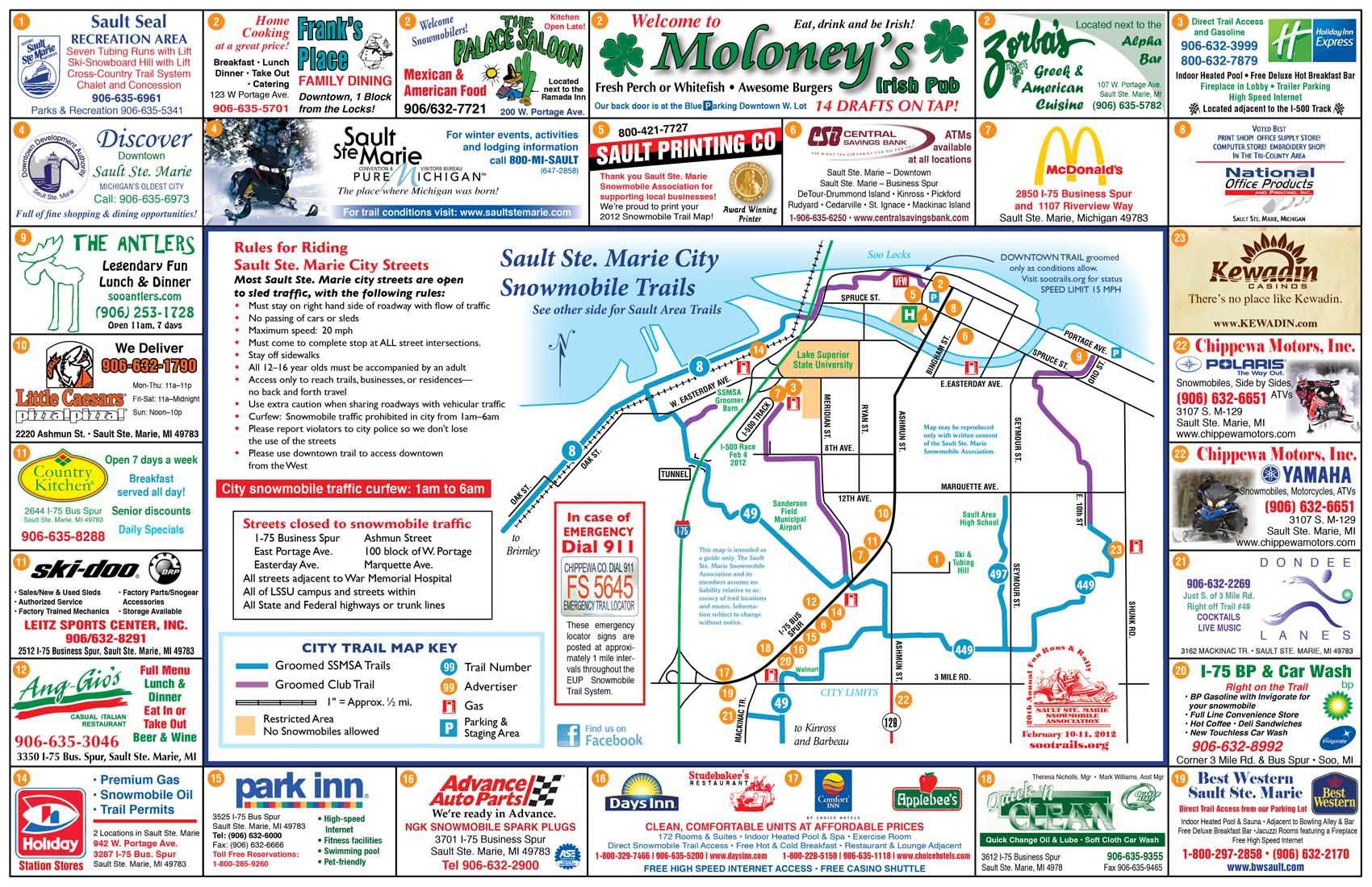 City trail info sault ste marie snowmobile association city trail map publicscrutiny Image collections